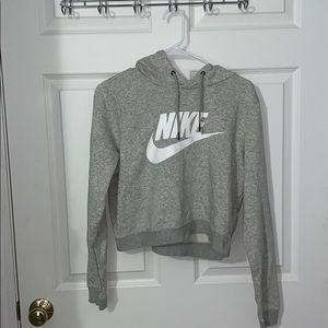 Gray Nike Cropped Hoodie